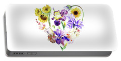 Portable Battery Charger featuring the painting Love Flowers by Irina Sztukowski