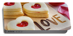Portable Battery Charger featuring the photograph Love Heart Cookies by Teri Virbickis