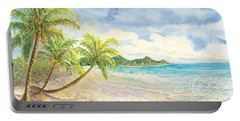 Love Heart On The Tropical Beach With Palm Trees Portable Battery Charger