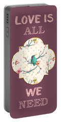 Portable Battery Charger featuring the digital art Love Is All We Need Typography Hummingbird And Butterflies by Georgeta Blanaru
