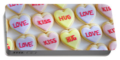 Portable Battery Charger featuring the photograph Love Kiss Hug Heart Cookies by Teri Virbickis