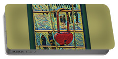 Portable Battery Charger featuring the mixed media Love Locked On The Hudson by Bruce Carpenter