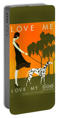 Love Me Love My Dog - 1920s Art Deco Poster Portable Battery Charger