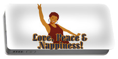 Love Peace And Nappiness Portable Battery Charger by Rachel Natalie Rawlins