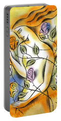 Portable Battery Charger featuring the painting Love, Roses And Thorns by Leon Zernitsky