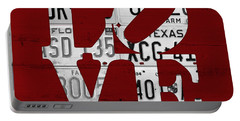 Love Sign Vintage License Plates On Red Barn Wood Portable Battery Charger