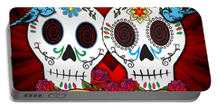 Love Skulls Portable Battery Charger by Tammy Wetzel