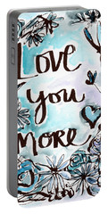 Love You More- Watercolor Art By Linda Woods Portable Battery Charger by Linda Woods