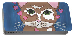 Loveable Cat Portable Battery Charger by Kathleen Sartoris