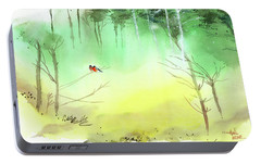 Portable Battery Charger featuring the painting Lovebirds 3 by Anil Nene