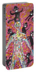 Portable Battery Charger featuring the painting Loved By The Monkeys by Fabrizio Cassetta