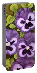 Lovely Purple Pansy Faces Portable Battery Charger by Inese Poga