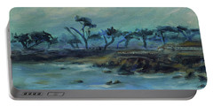Portable Battery Charger featuring the painting Lovers Point Pacific Grove California Landscape 17 by Xueling Zou