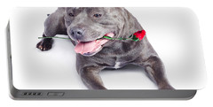 Loving Dog Carrying Red Rose In Mouth Portable Battery Charger