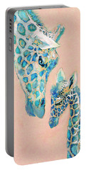 Loving Giraffes Family- Coral Portable Battery Charger by Jane Schnetlage