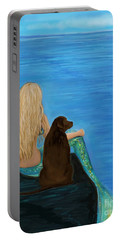 Portable Battery Charger featuring the painting Loving Lab Loyalty by Leslie Allen