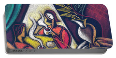 Portable Battery Charger featuring the painting Loving Relationship by Leon Zernitsky