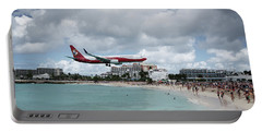 Low Landing At Sonesta Maho Beach Portable Battery Charger by Nick Mares