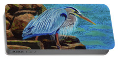 Low Tide Fisherman Portable Battery Charger by Susan Duda