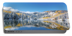 Lower Cataract Lake Fall Snow Scene Portable Battery Charger