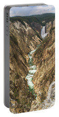 Lower Falls Of The Yellowstone - Portrait Portable Battery Charger