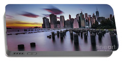 Lower Manhattan Purple Sunset Portable Battery Charger