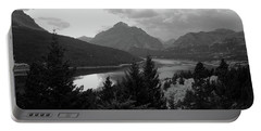 Lower Two Medicine Lake In Black And White Portable Battery Charger