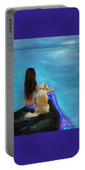 Portable Battery Charger featuring the painting Loyal Loving Buddy by Leslie Allen