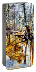 Portable Battery Charger featuring the painting  Lubianka-2-river by Henryk Gorecki