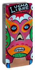 Portable Battery Charger featuring the painting Lucha Libre by Pristine Cartera Turkus