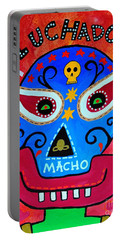 Portable Battery Charger featuring the painting Luchador by Pristine Cartera Turkus