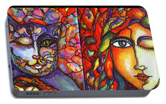 Portable Battery Charger featuring the painting Lucid Dreams by Rae Chichilnitsky