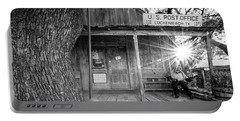 Luckenbach, Texas, Post Office In Black And White Portable Battery Charger by Andy Crawford