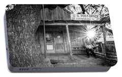 Portable Battery Charger featuring the photograph Luckenbach, Texas, Post Office In Black And White by Andy Crawford