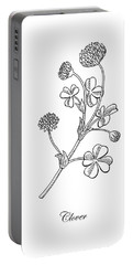 Lucky Clover Botanical Flower Drawing  Portable Battery Charger