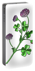 Lucky Clover Flower Botanical Watercolor  Portable Battery Charger