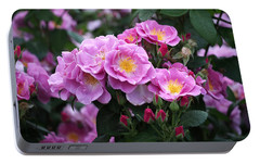 Lucky Floribunda Roses Portable Battery Charger by Rona Black