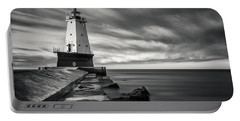 Portable Battery Charger featuring the photograph Ludington Light Black And White by Adam Romanowicz