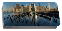 Luminous Blue Silver And Gold - Manhattan Skyline And East River Portable Battery Charger