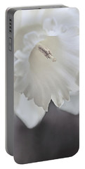 Portable Battery Charger featuring the photograph Luminous Ivory Daffodil Flower by Jennie Marie Schell