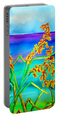 Portable Battery Charger featuring the painting Luminous Oats by Lil Taylor