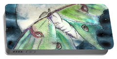 Luna Moth Full Moon Portable Battery Charger