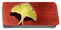 Luna Moth On Red Barn Portable Battery Charger