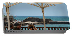 Portable Battery Charger featuring the photograph Lunch At The Mediterranean by Mae Wertz