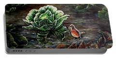 Portable Battery Charger featuring the painting Lunch In The Garden by Judy Kirouac