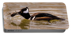 Portable Battery Charger featuring the photograph Lunchtime For The Hooded Merganser by Randy Scherkenbach