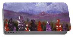 Portable Battery Charger featuring the painting Lupine Land #1 by Anastasiya Malakhova
