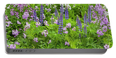 Lupines And Dames Rocket Portable Battery Charger by Alan L Graham