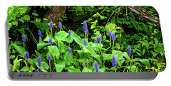 Lush Purple Flowers In The Woods Portable Battery Charger
