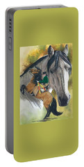 Portable Battery Charger featuring the painting Lusitano by Barbara Keith